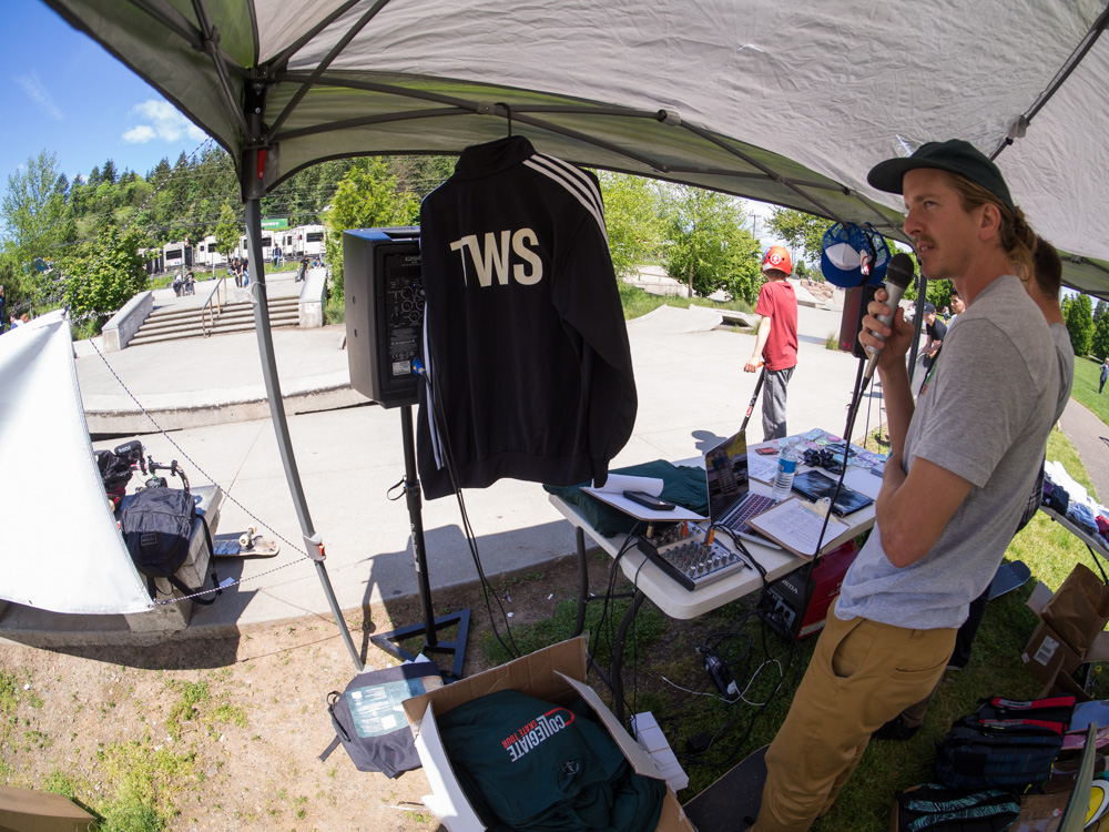 Runnin'  Transworld  apparel. Keegan's on the mic.