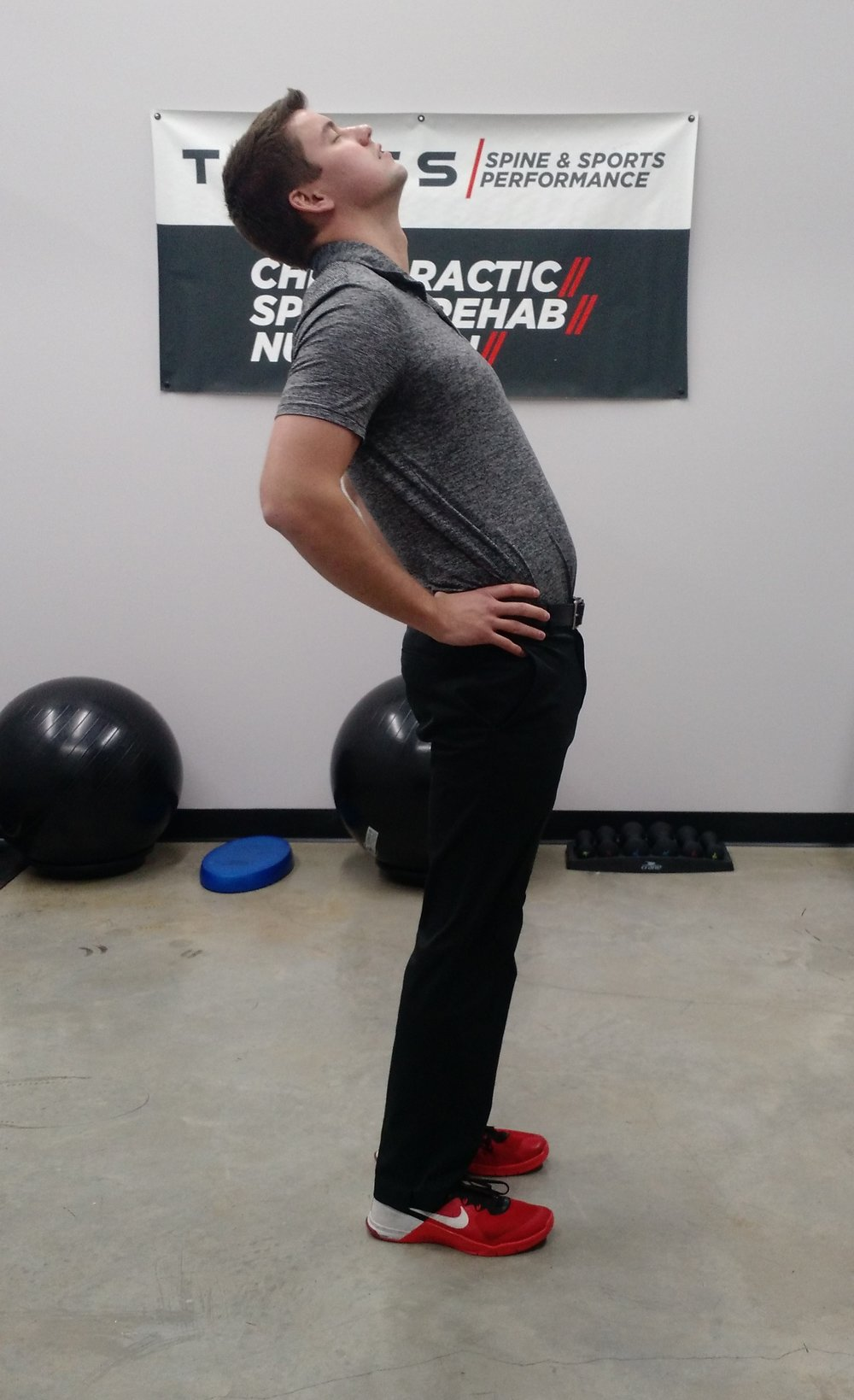 Then lean back over your hands and hold for a couple of seconds, then come back to the start position and repeat.
