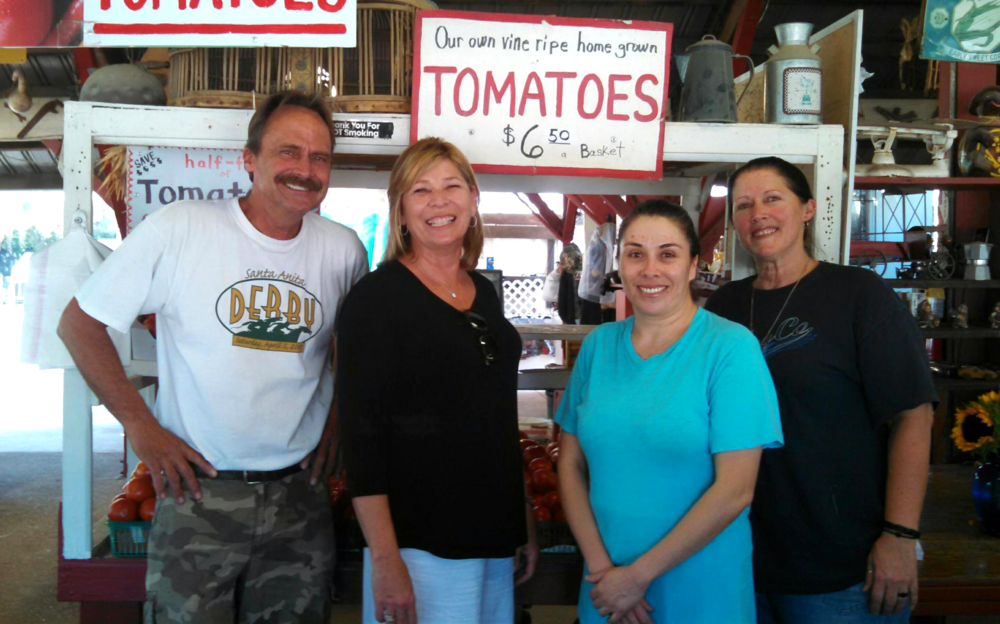 Shopping for fresh local tomatoes at the Tapia Brothers in Encino