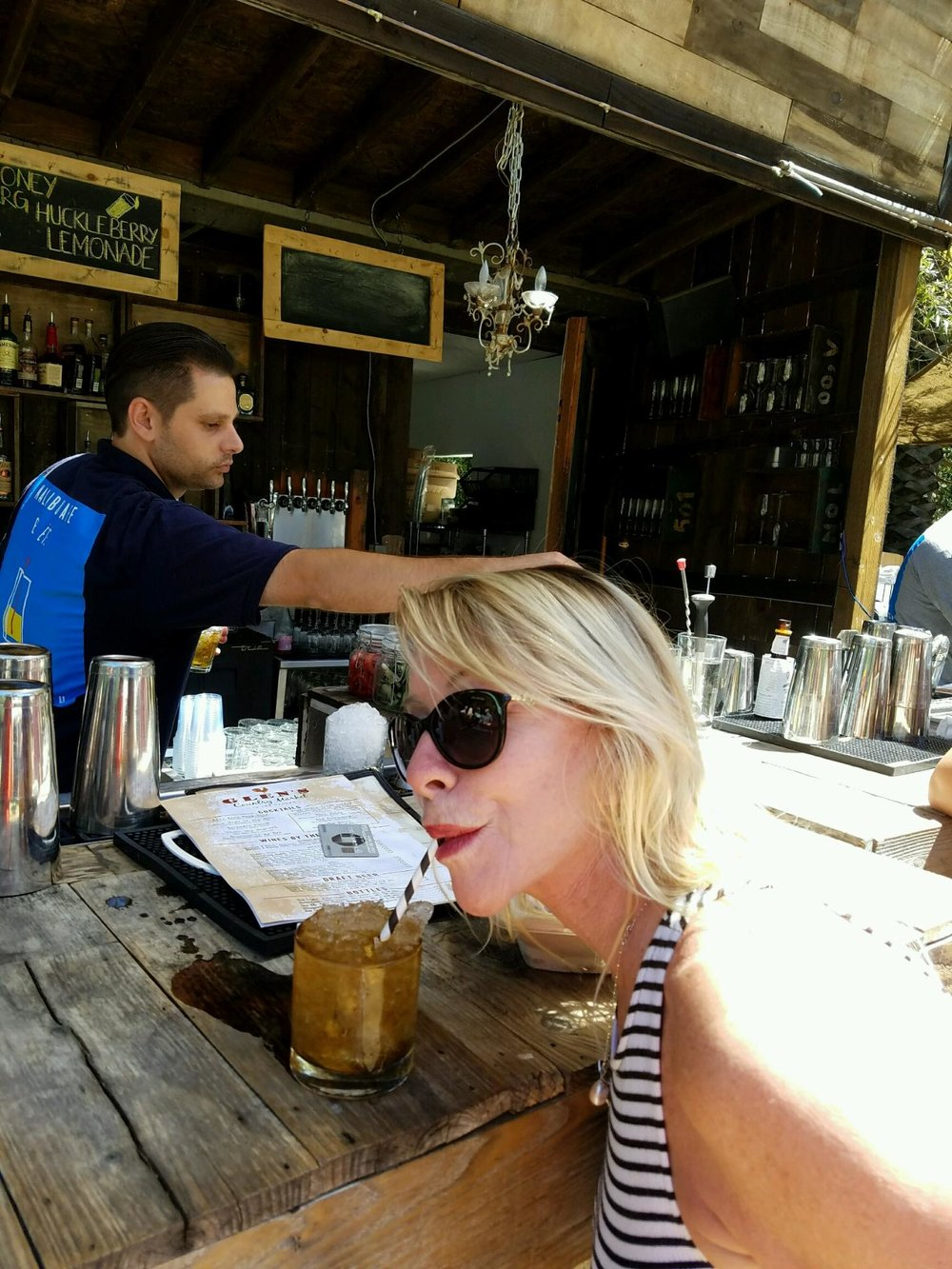 Charming rustic outdoor bar with the best mint julep ever! BFF Nancy enjoying hers!