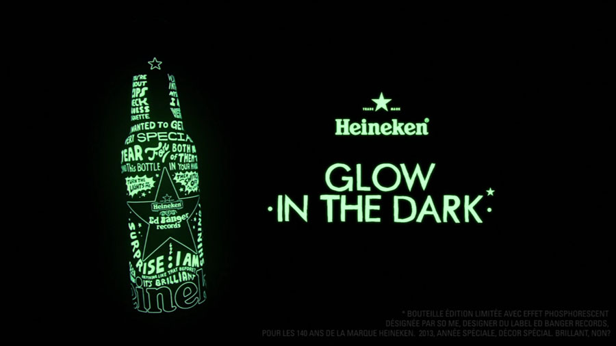 Heineken x EDbanger bottle - Glow in the dark