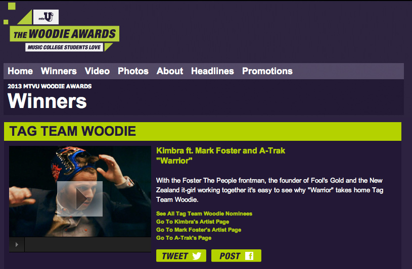 """Warrior"" won the MTV Tag Team Woodie award in 2013."
