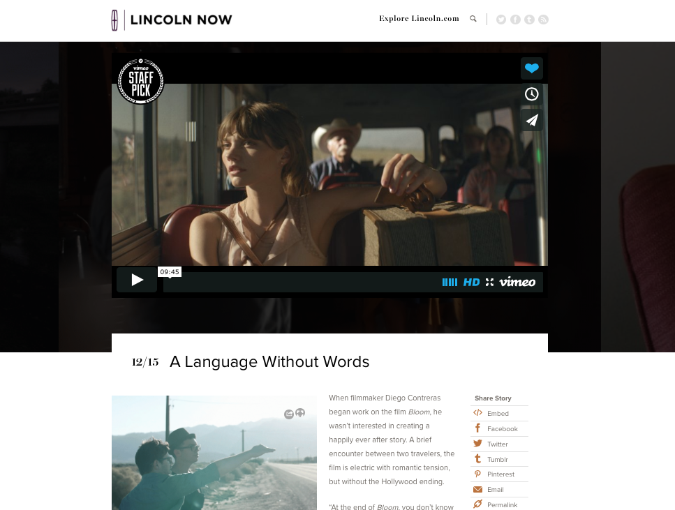 Feature & Interview  on Lincoln Now blog