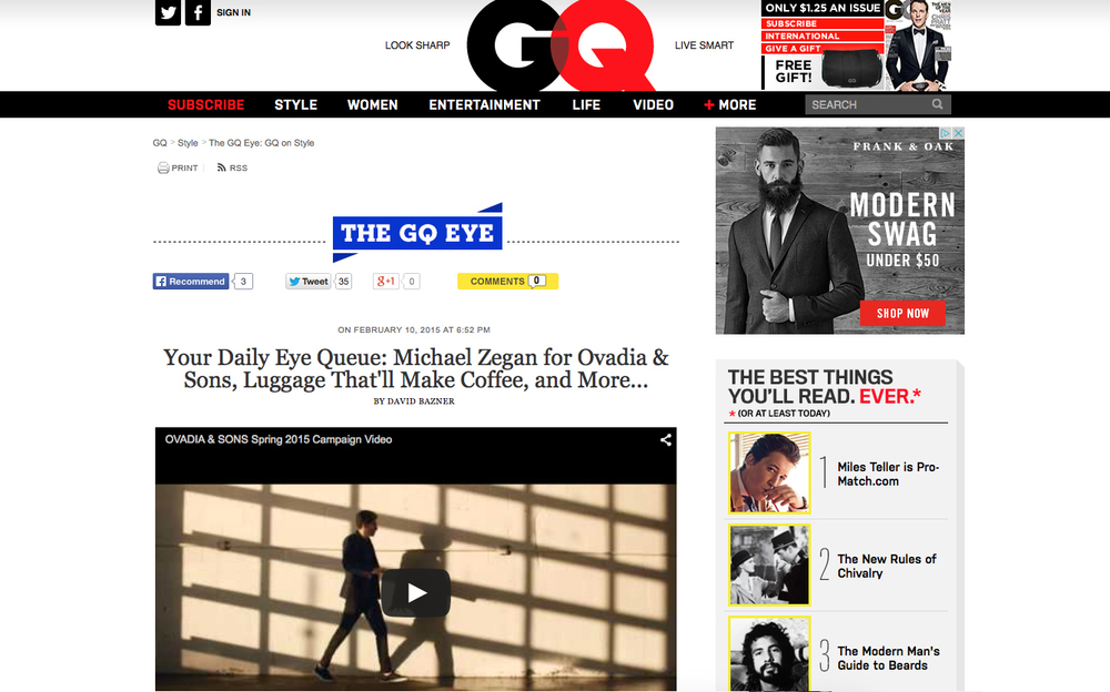 Featured on GQ.com
