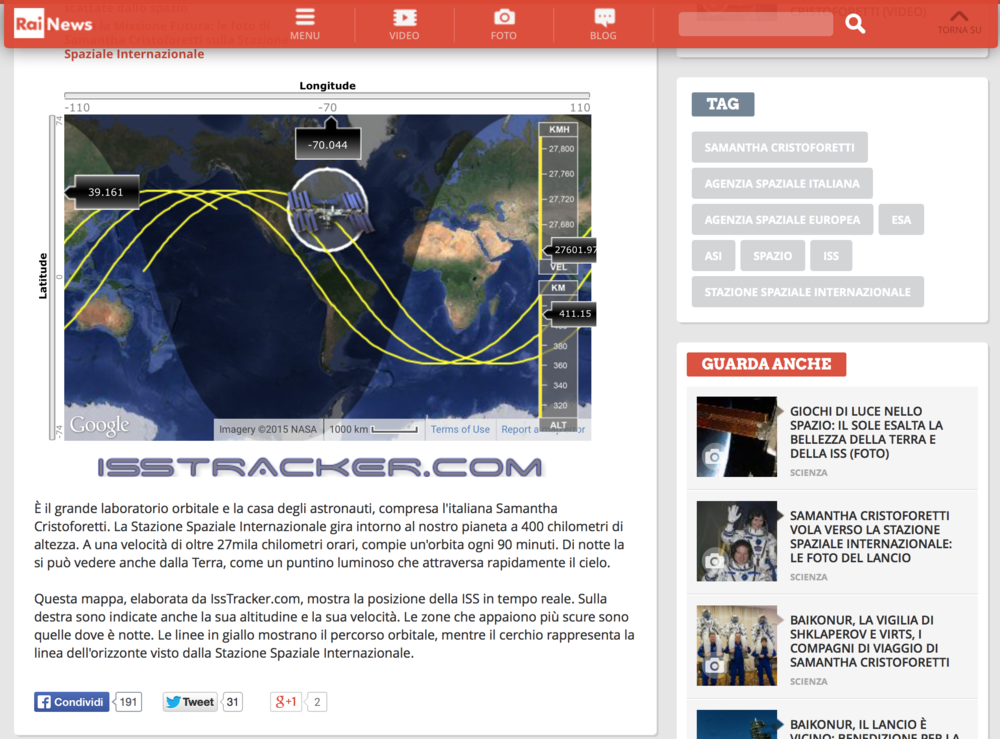 RaiNews: Embeddable ISS Tracker