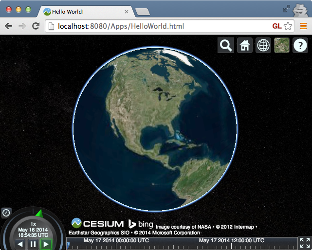 CesiumJS Hello World demonstration