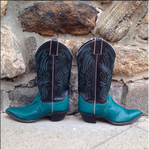 Justin Teal and Black Cowboy Boots — Trilogy Consignment