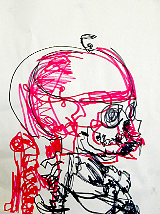 Red 1- 18x24 in; marker on newsprint; 2005