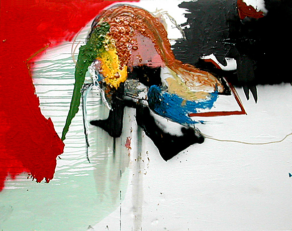 KL's Death- 108x78 in; oil, acrylic, spray paint, wood glue, glass on canvas; 2007 - Private Collection