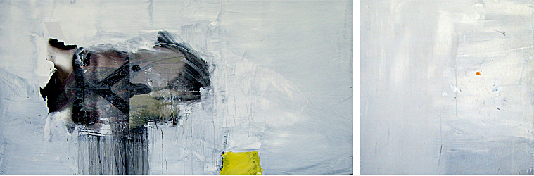 Charlie- 144x96 in; oil, resin, mixed media on panel (left), wood (right); 2008 - Private Collection