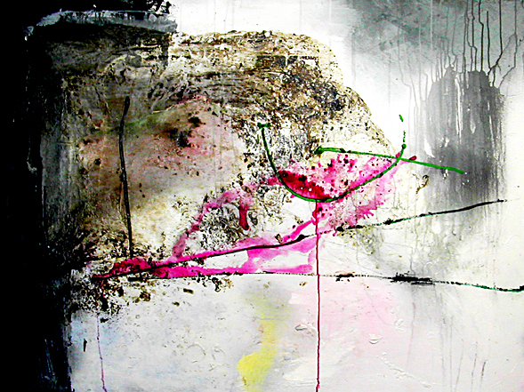 Not Steady- 45x60 in; acrylic, oil, asphaltum, spray-paint on canvas; 2003 - Private Collection