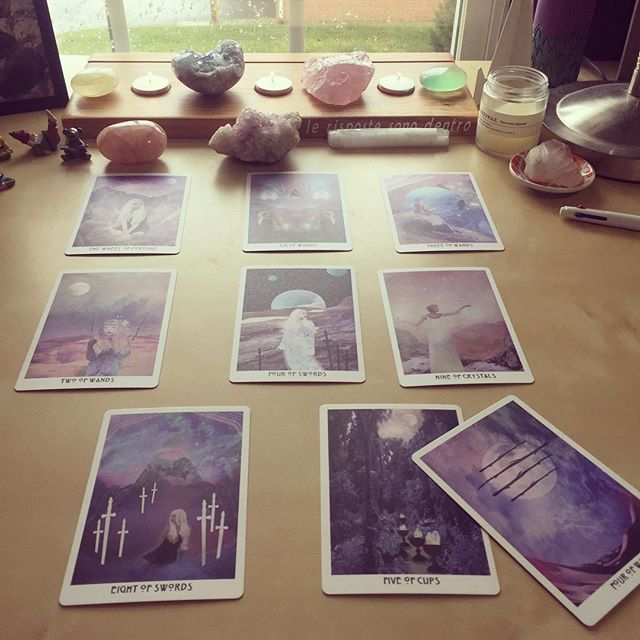 NYE festivities have started. Reviewing 2018 with a spread from @biddytarot. I'm going to walk through it on my stories. Zero surprises here. #tarotbeginner #biddytarotplanner #starchildtarot