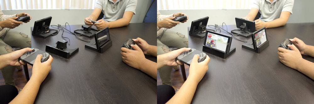 Task: Clean up spots, add two more Switch consoles with games on screen, fix nails.
