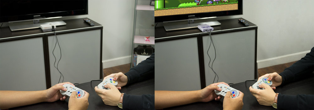 Task: Clean up spots, take out display and add mini console, game on screen and gamepad details.