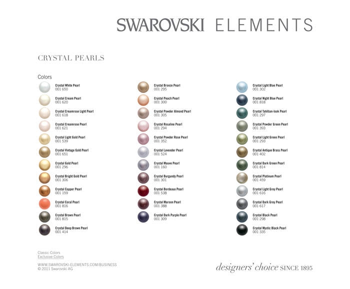 Swarovski Crystal Pearl Chart