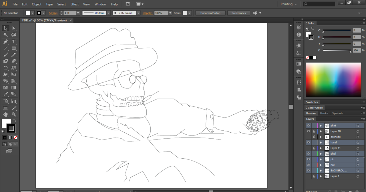Latest project for my brother's band, Furious Dead Republic (FDR). It going to be made into a poster once I'm done.