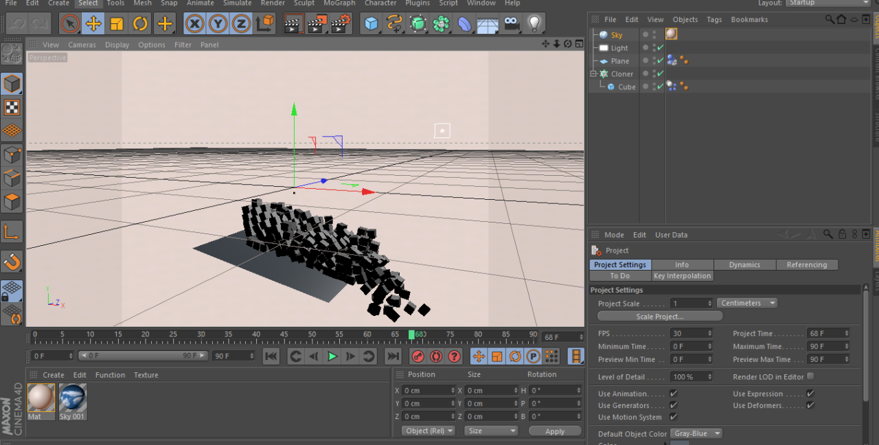 Learning Kinetics and Physics in Cinema 4d.