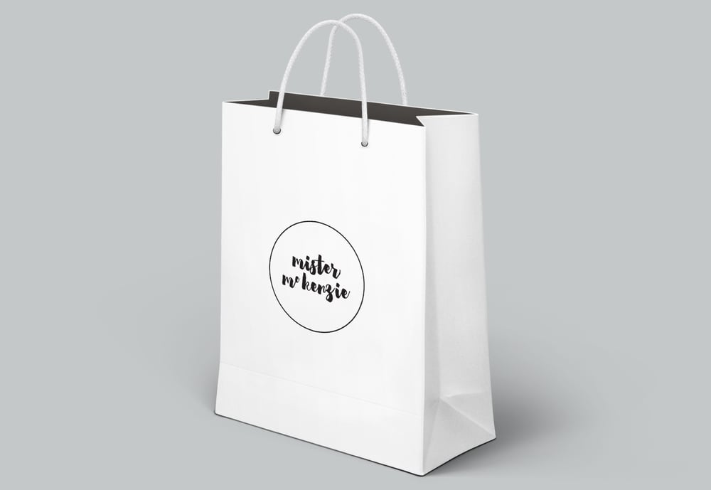 Georgie McKenzie Graphic Design | Mister McKenzie Jewellery | Branding | Shopping Bag