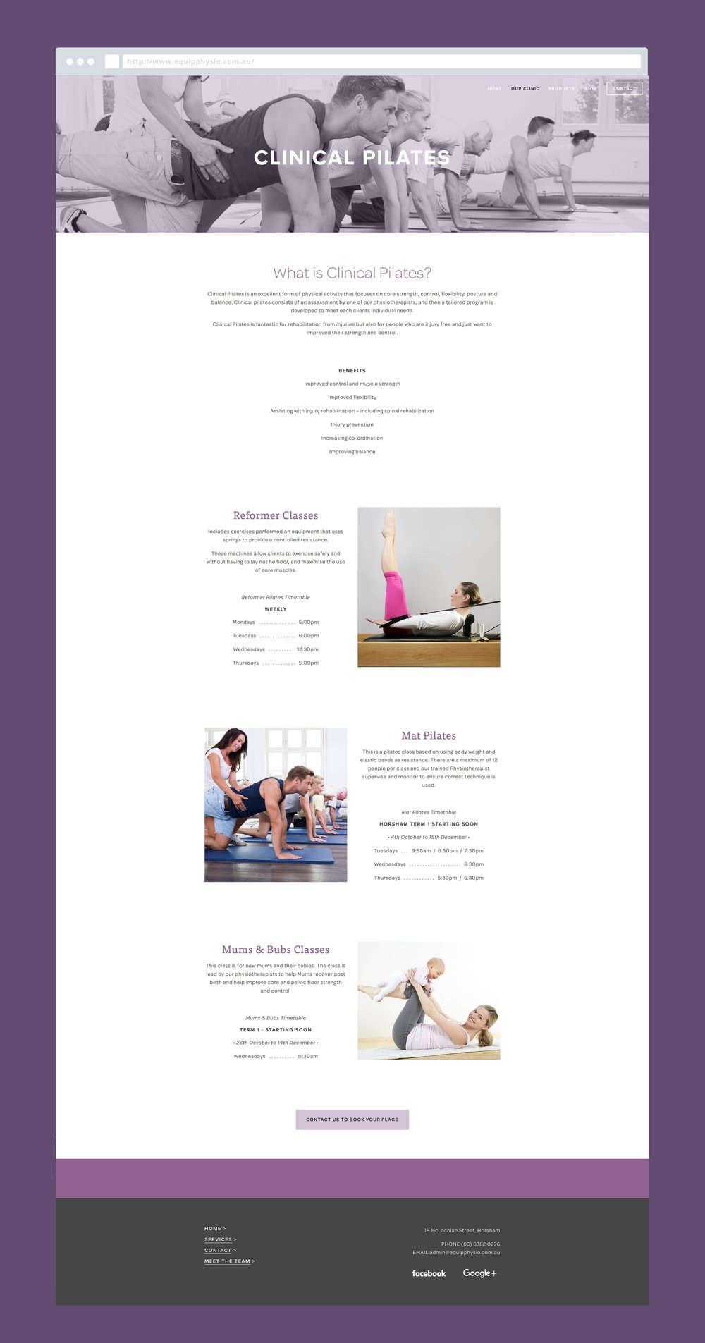 Georgie McKenzie Graphic Design | Equip Physiotherapy and Pilates Branding