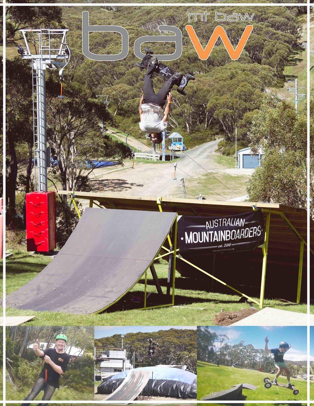28th of Jan head up to Mt Baw Baw for a fun day Mountainboarding!      -Lift will be open from 11am –3pm - (Although you can ride the mountain the entire day without lifts)  -Mountainboard lessons -Board rentals -Big Air bag + heaps of ramps and rails for everyone to ride    Lessons are $20.00 and will run from:    10am - 11am and 12am -1am    (lift ticket, board hire and lessons will be available from Baw Baw sports)  Stay up to date with the event by liking out  FACEBOOK  page  Check out last years event: