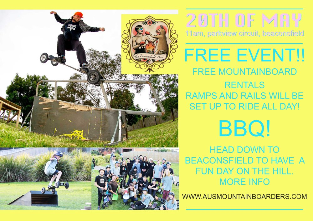 Head down to Beaconsfield on the 20th of   May to have a awesome day Mountainboarding! The Beaconsfield hill will be filled with Mountainboard ramps and rails to session all day! Invite your pals, there will be spare boards and protective gear for them to use.     The Event is FREE and will run from approx 11am to 5pm     EVERYONE MUST DOWNLOAD AND FILL OUT THE WAIVER BY CLICKING THE LINK BELOW       Beaconsfield Bash Waiver      Riders under the age of 18 must wear a helmet!  Any questions please email us at ausmountainboarders@gmail.com  CHECK OUT THE VIDEO BELOW FROM OUR LAST BEACY BASH!