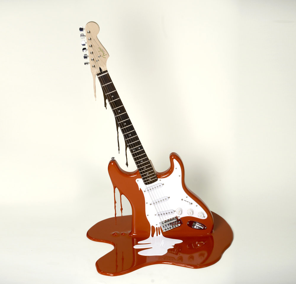 The Art of Noise… - An edition of only three Red Fender Stratocaster guitars, fully working.Each piece is numbered and signed on the rear and supplied with a C of A.Email for more details studio@plasticjesus.com