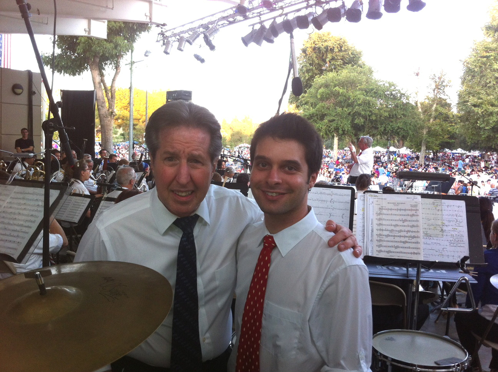 With percussionist Lee Gurst before performing with the LA Pierce Symphonic Winds at Warner Center Park on July 4, 2013.