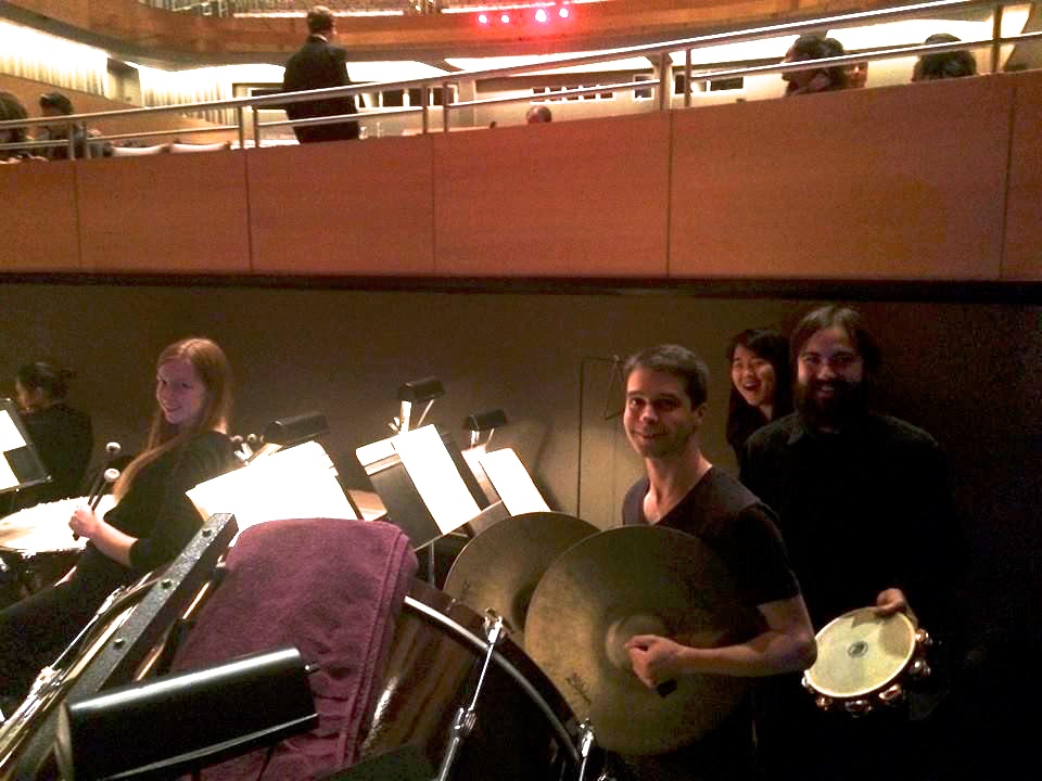 "In the pit at Valley Performing Arts Center with the CSUN Symphony Orchestra Percussionists before performing Bizet's ""Carmen"". (Fall, 2014)"