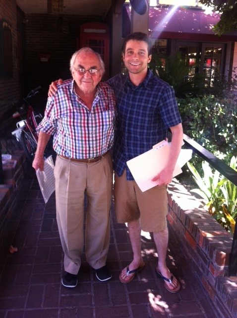 Discussing my Theme and Variations for Snare Drum with William Kraft over lunch in Pasadena. (Summer, 2014)