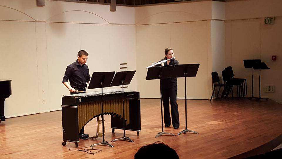 "Performing with Charlotte Betry for the Discovery Players concert at California State University, Northridge in November, 2015. The piece was ""Concert Duet for Flute and Vibraphone"" by Murray Houliff."