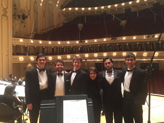 The percussionists of the CSUN Wind Ensemble before our performance at Chicago Symphony Center. (April. 2016)