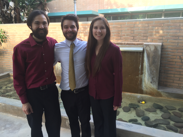 With my two duet partners after my senior recital: Jonathan Palmquist (left) and Charlotte Betry (right).
