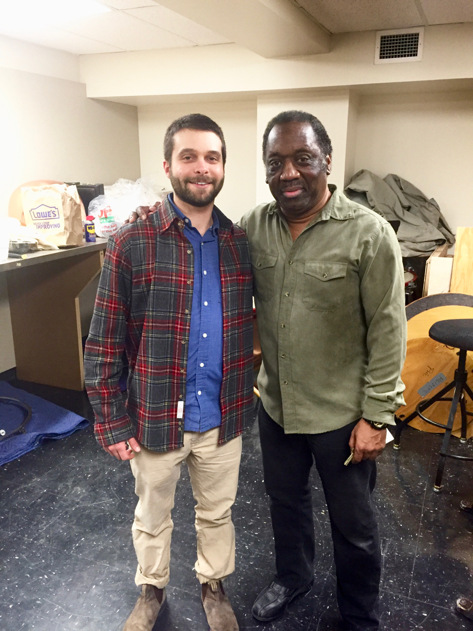 Backstage of Benaroya Hall with my teacher, Mike Crusoe - Principal timpanist of the Seattle Symphony Orchestra! (February, 2017)