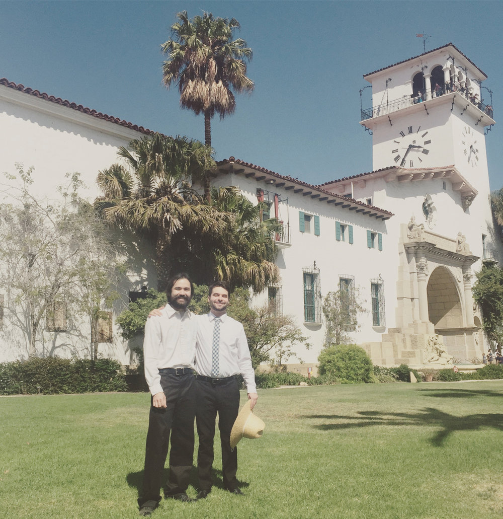 With my good friend Jonathan Palmquist, in front of the Santa Barbara Courthouse before our concert with the West Coast Symphony. (Summer, 2016)