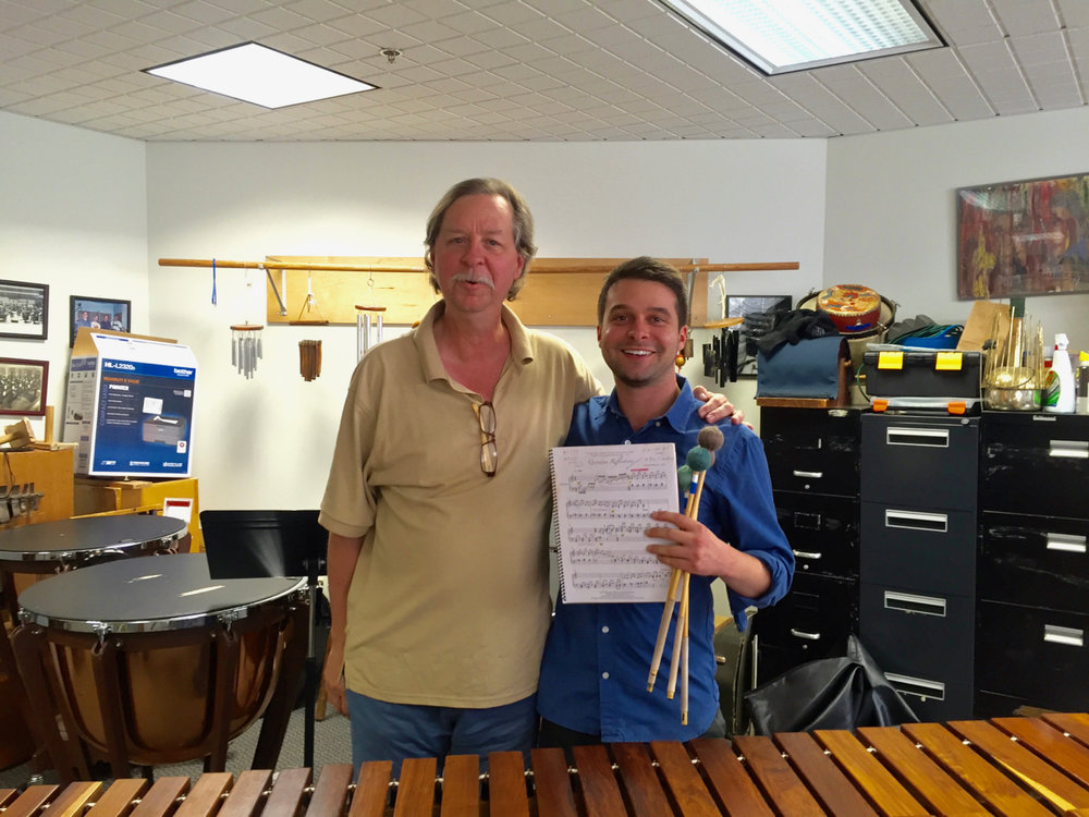 "With Gordon Stout at Ithaca College, NY after a lesson on his marimba piece ""Quondam Reflections."" (September, 2016)"