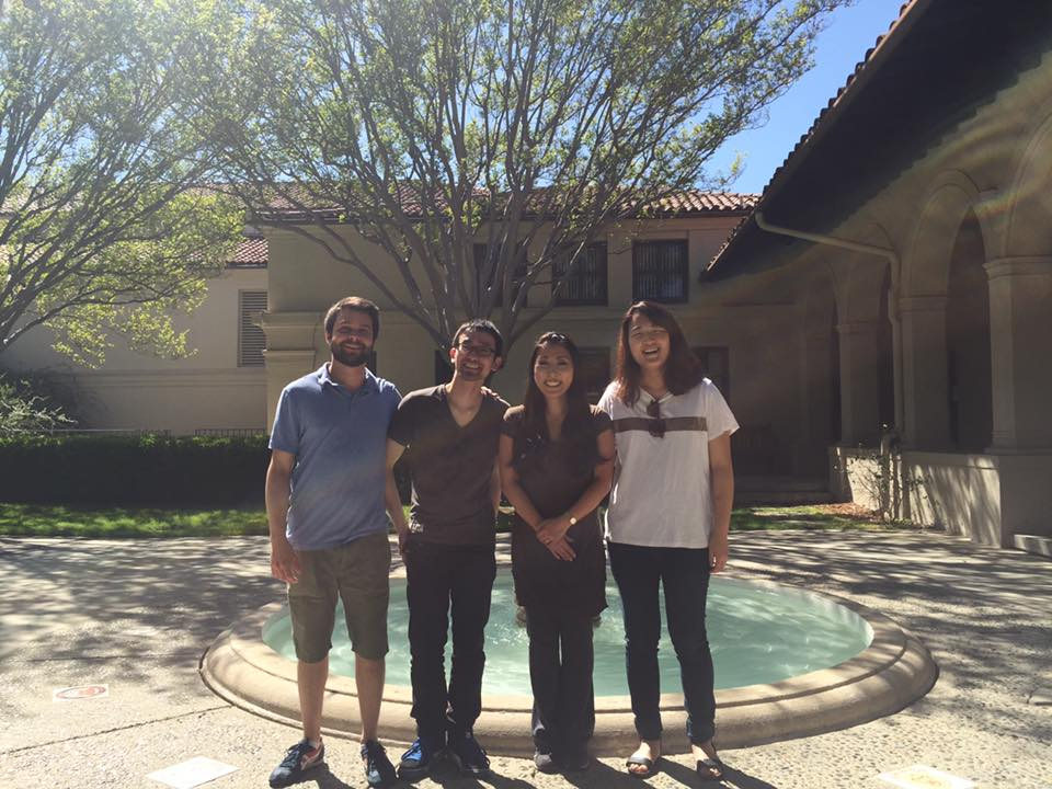 With good friends and excellent musicians at Occidental College in Los Angeles, CA for a wonderful concert by Naoko Takada. From left to right: Emerson Wahl, Hiromu Nagahama, Naoko Takada, Jieun Chung. (March, 2016)