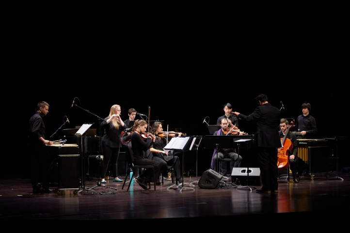 Playing vibraphone (far left) with the University of Washington Modern Ensemble on Steve Reich's piece, Radio Rewrite. (Fall, 2016, Meany Theatre)