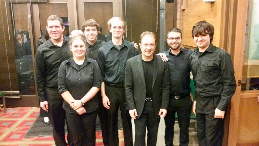 The University of Washington Symphony Orchestra percussionists with Maestro Ludovic Morlot (Seattle Symphony Orchestra) after our concert at Meany Theatre. (3/10/17)