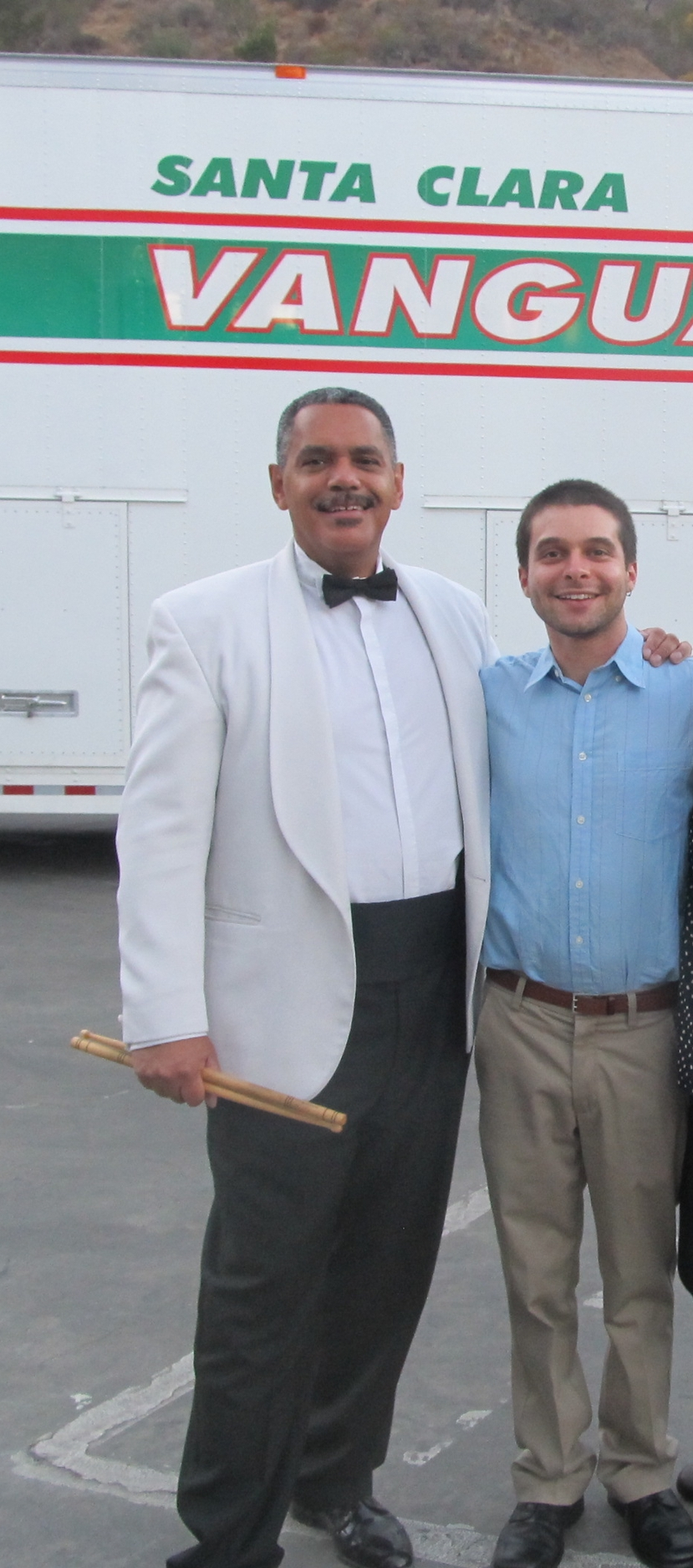 "With my teacher Raynor Carroll, former Principal Percussionist of the LA Philharmonic before they performed their ""Tchaikovsky Spectacular"" concert along with the Santa Clara Vanguard at the Hollywood Bowl. (Summer, 2013)"