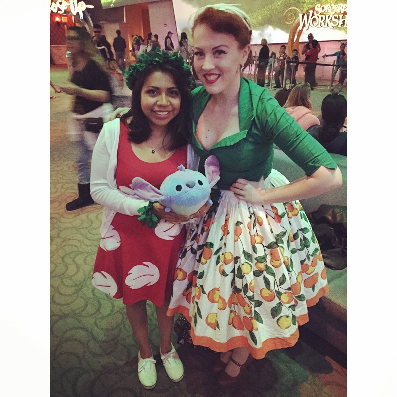 @VisionsOfADayDream on instagram. I saw her walking around before & when I saw her again in the Animation Building I knew I had to say hello & grab a pictures. I have an affinity with Lilo & Stitch (It probably has do with working at the Poly at Walt Disney World. Any who, she & her boo were the sweetest! :D Go check her out, she makes incredible ears!