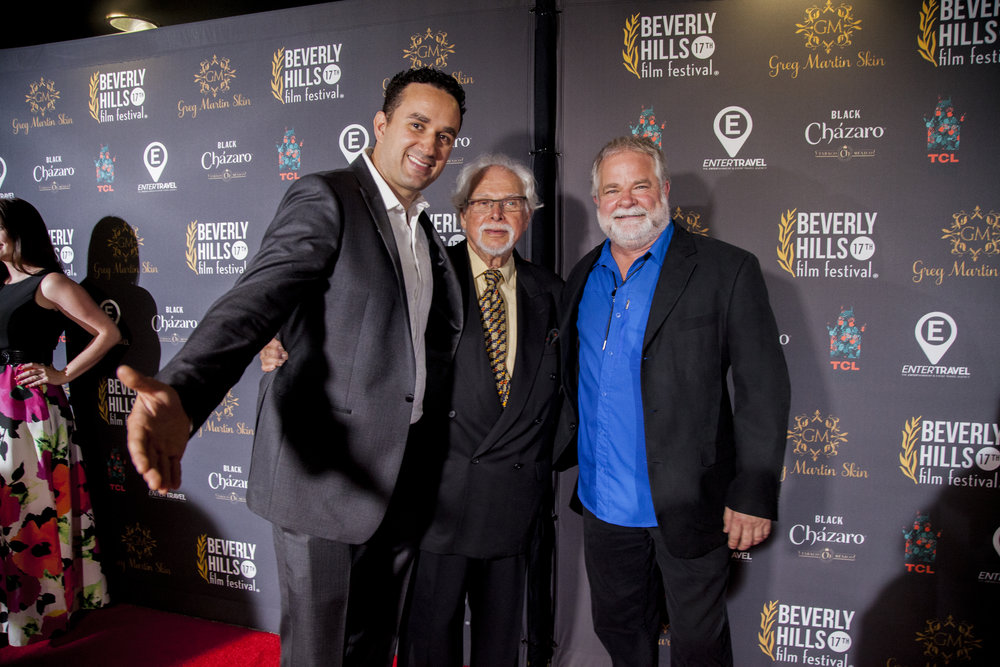 "From left: director Leonardo Corbucci, Legendary AD Burt Bluestein, Legendary AD Arthur Anderson. Chinese Theatre, ""BEVERLY HILLS FILM FESTIVAL"""