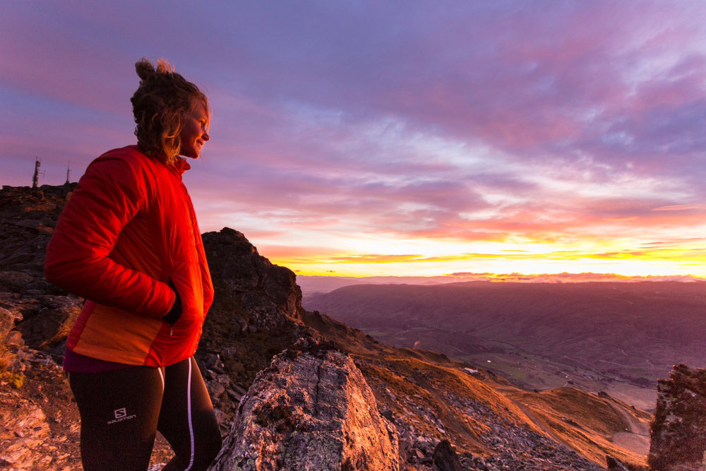 Sunrise trail running shoot with International Salomon athlete  Lucy Bartholomew .