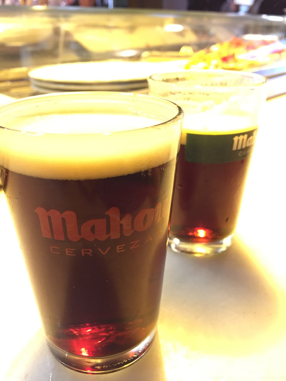 Mahou Negra: nutty, brown ale with hints of toffee. If you've had Rogue's Hazlenut brown nectar, this beer is not sweet or as nutty and higher on the IBU scale. So I really like it.