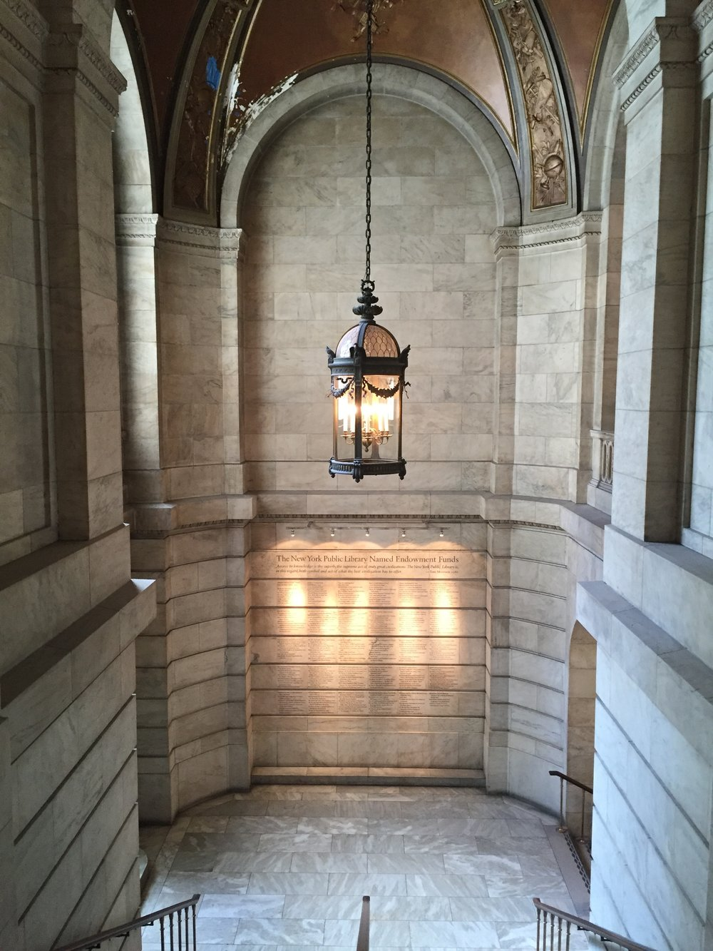 Just a glimpse of the architecture at the New York Public Library.