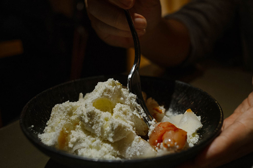 Prawns - with shaved yam bean, prawn head sauce and topped with smoked ricotta snow