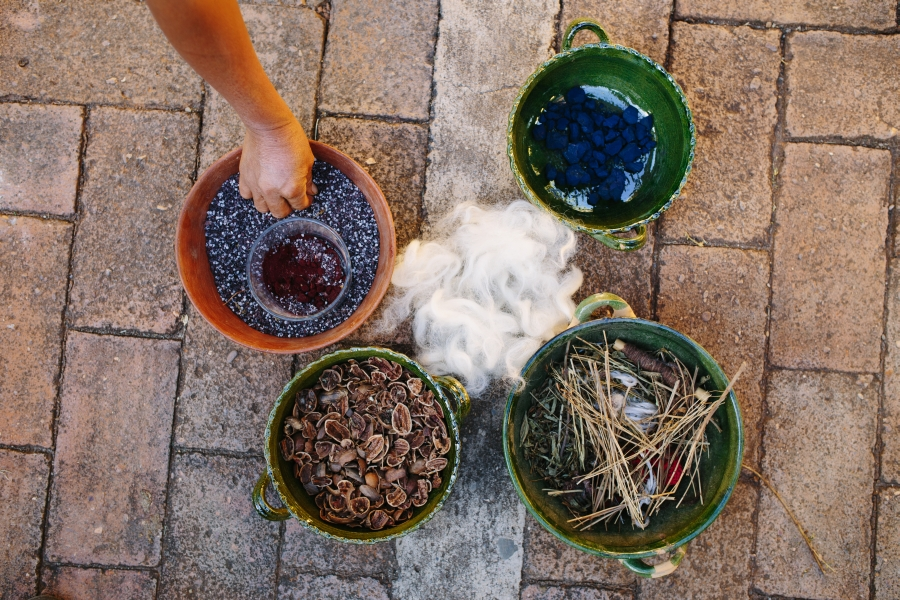 Ingredients used for rug making by local women of Oaxaca