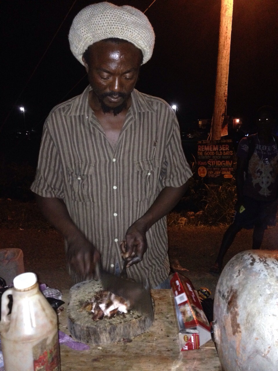 Jerk Chicken Man outside a street party