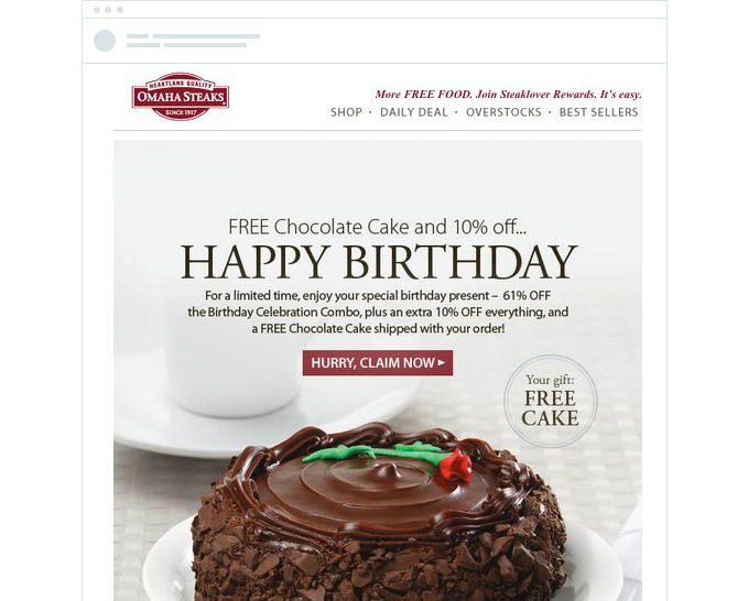 Birthday emails are fantastic for restaurants