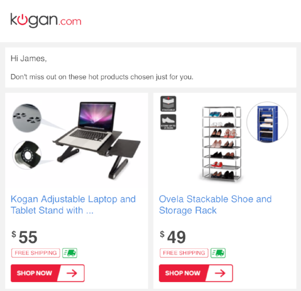 Automated & personalised email from Kogan based on my browsing habits.