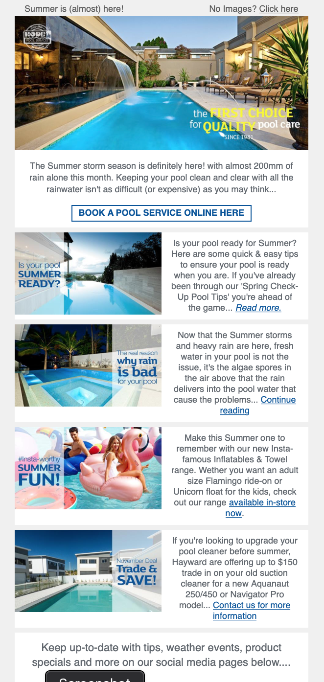 Simple and informative email for swimming pool client with calls to action.